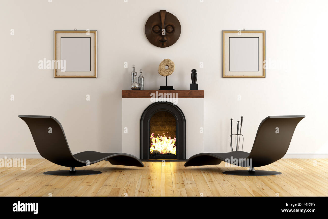 Empty Room With Minimalist Fireplace Ethnic Decor Objects And Black Armchair