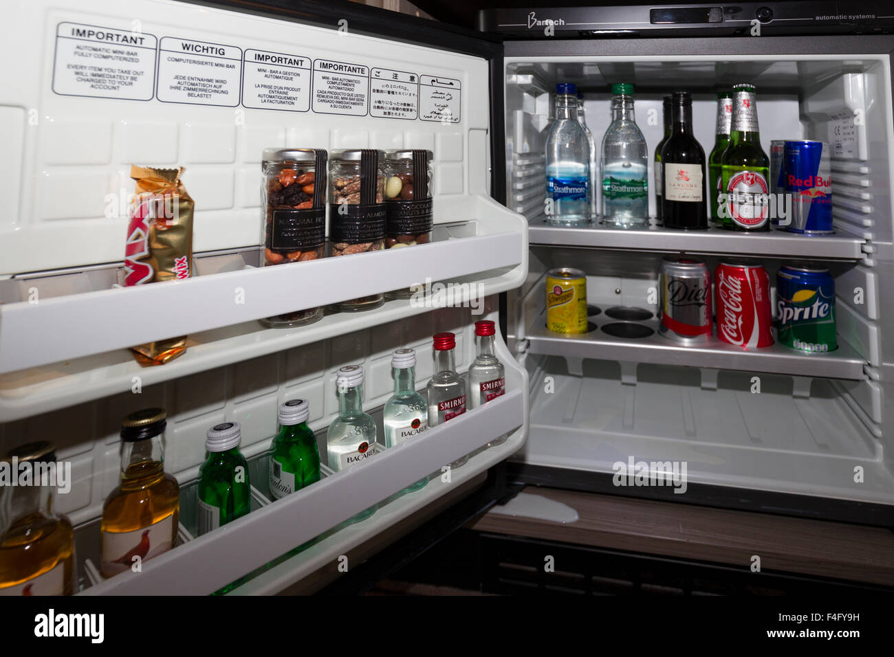 Bartech Computer, Controlled Mini Bar In Hotel Bedroom .Mini Bar Connect To  Reception For Automatic Billing