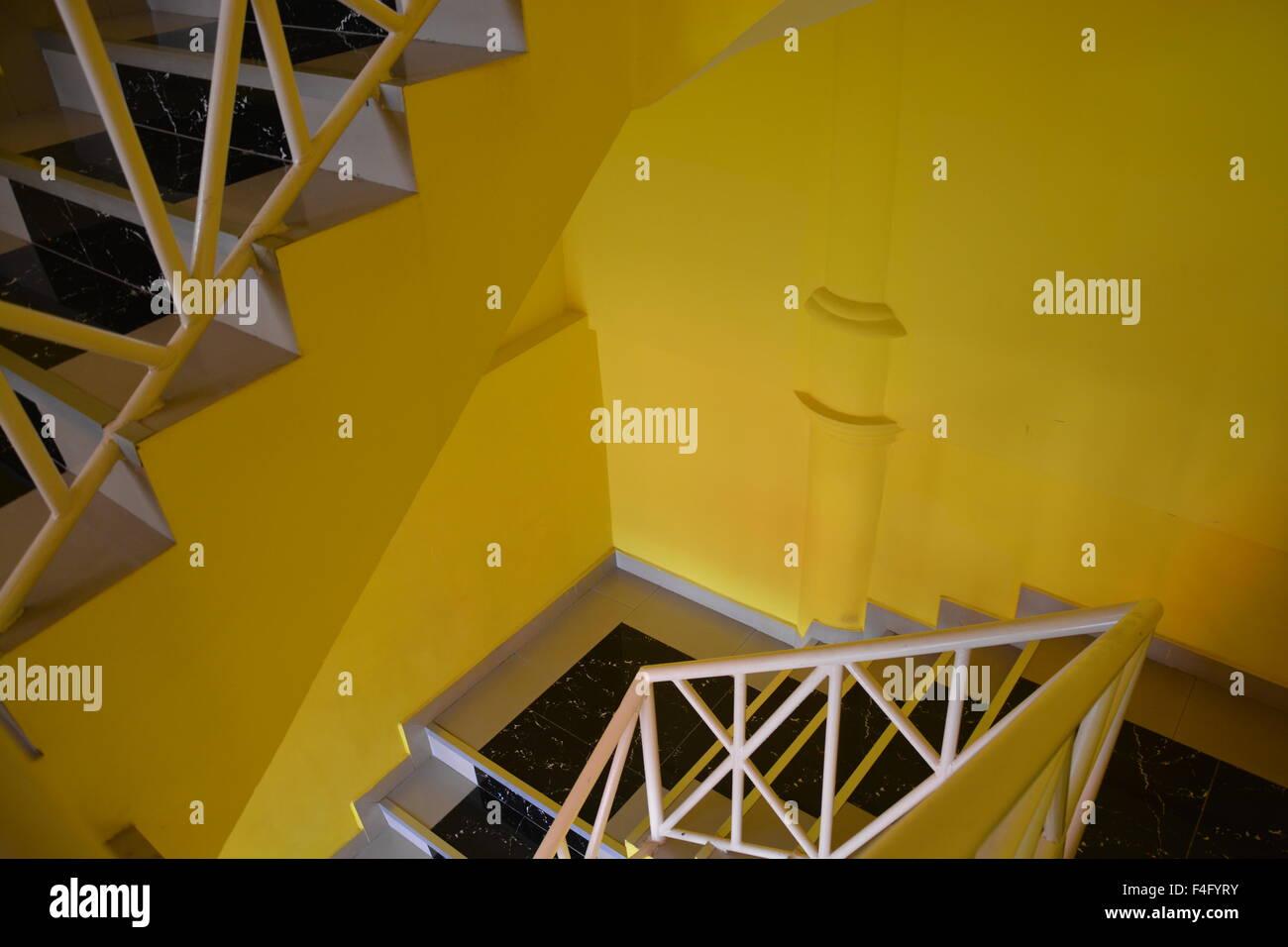 Yellow school staircase - Stock Image