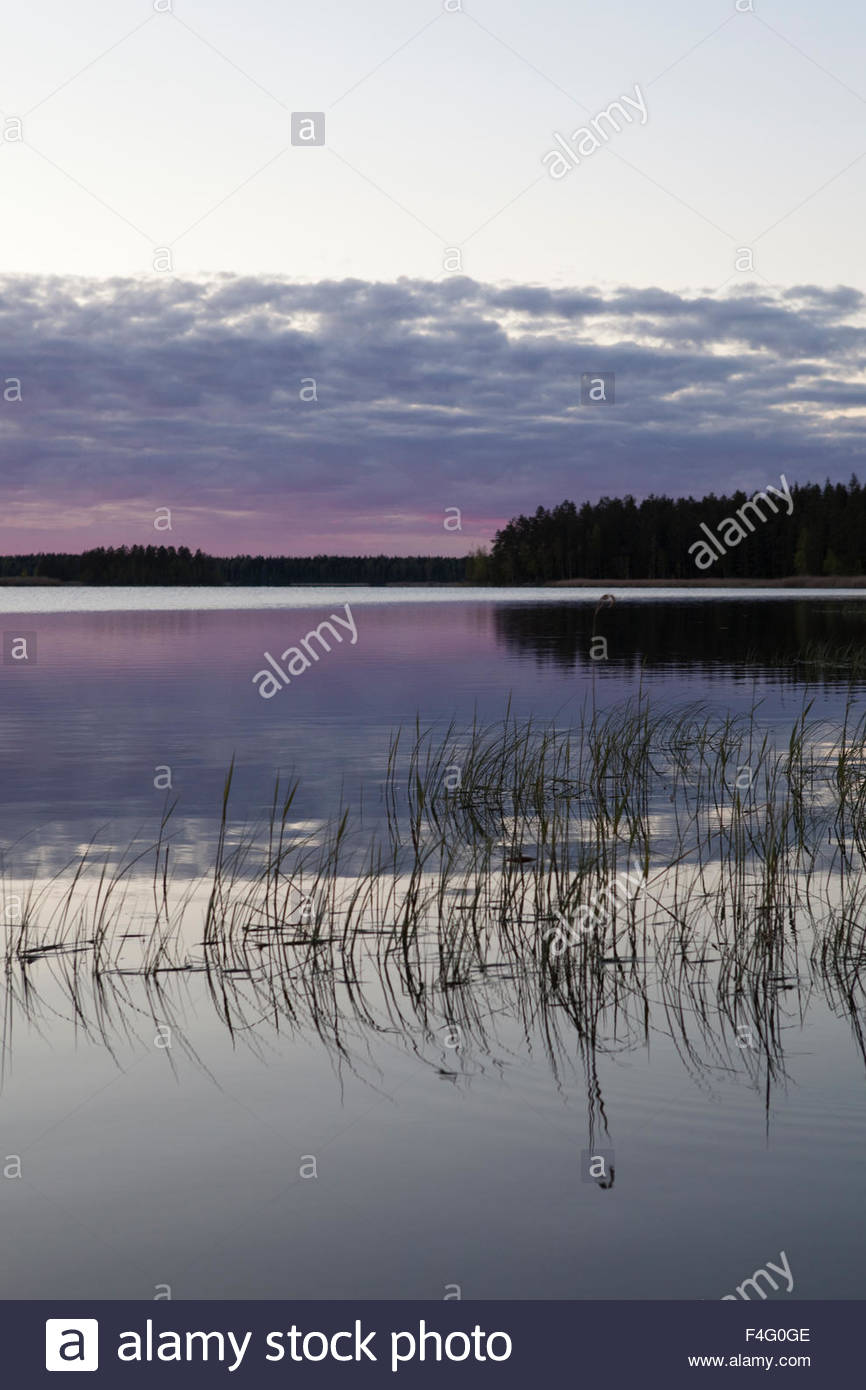 Sunset at lake Koskeljärvi in spring - Stock Image