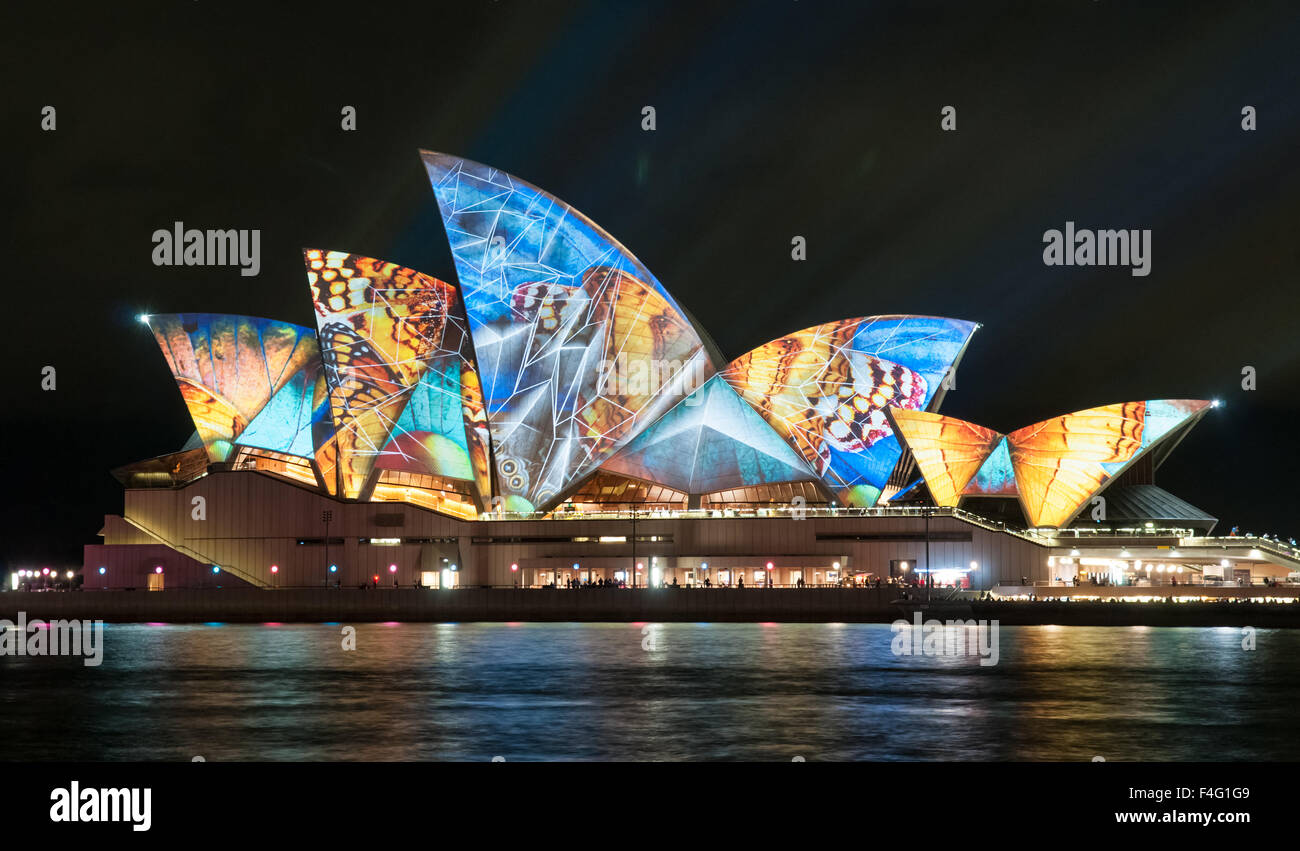 Sydney Opera House during the Vivid festival - Stock Image