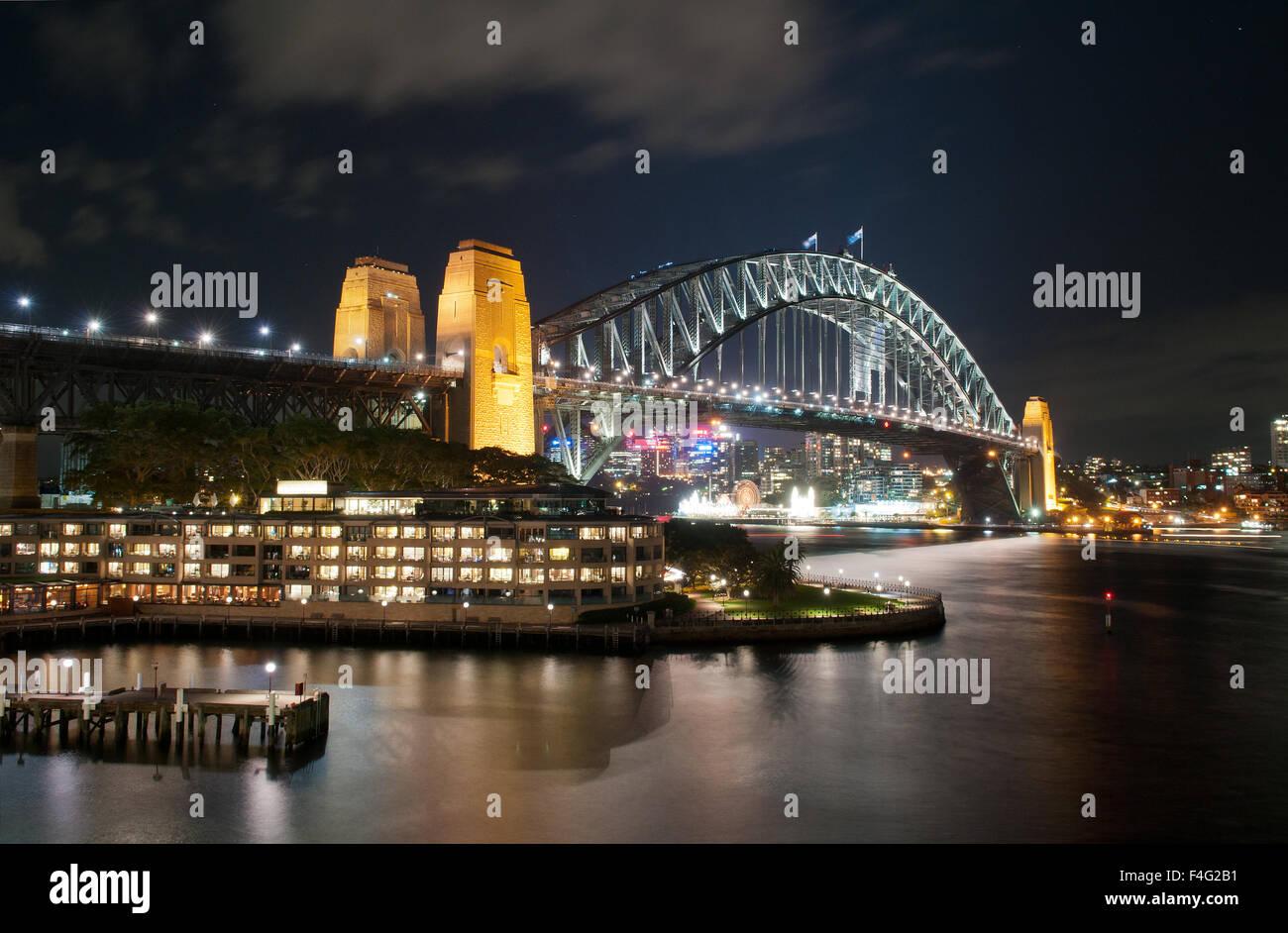 Sydney Harbour Bridge at night - Stock Image