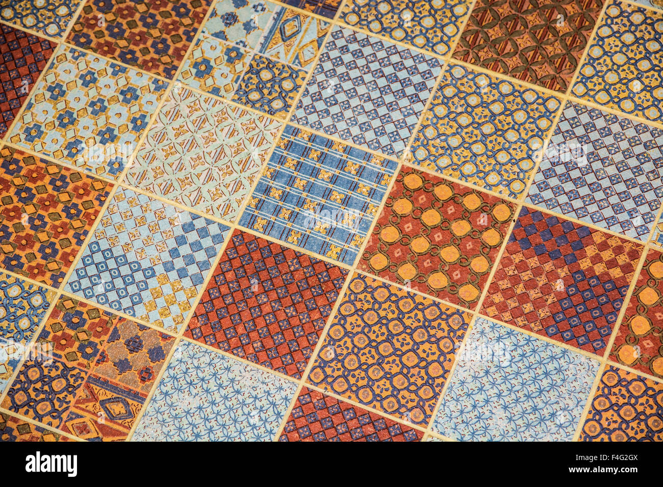 Linoleum floor stock photos linoleum floor stock images alamy tiled or linoleum floor covering with repeating square pattern each square with smaller shapes dailygadgetfo Image collections