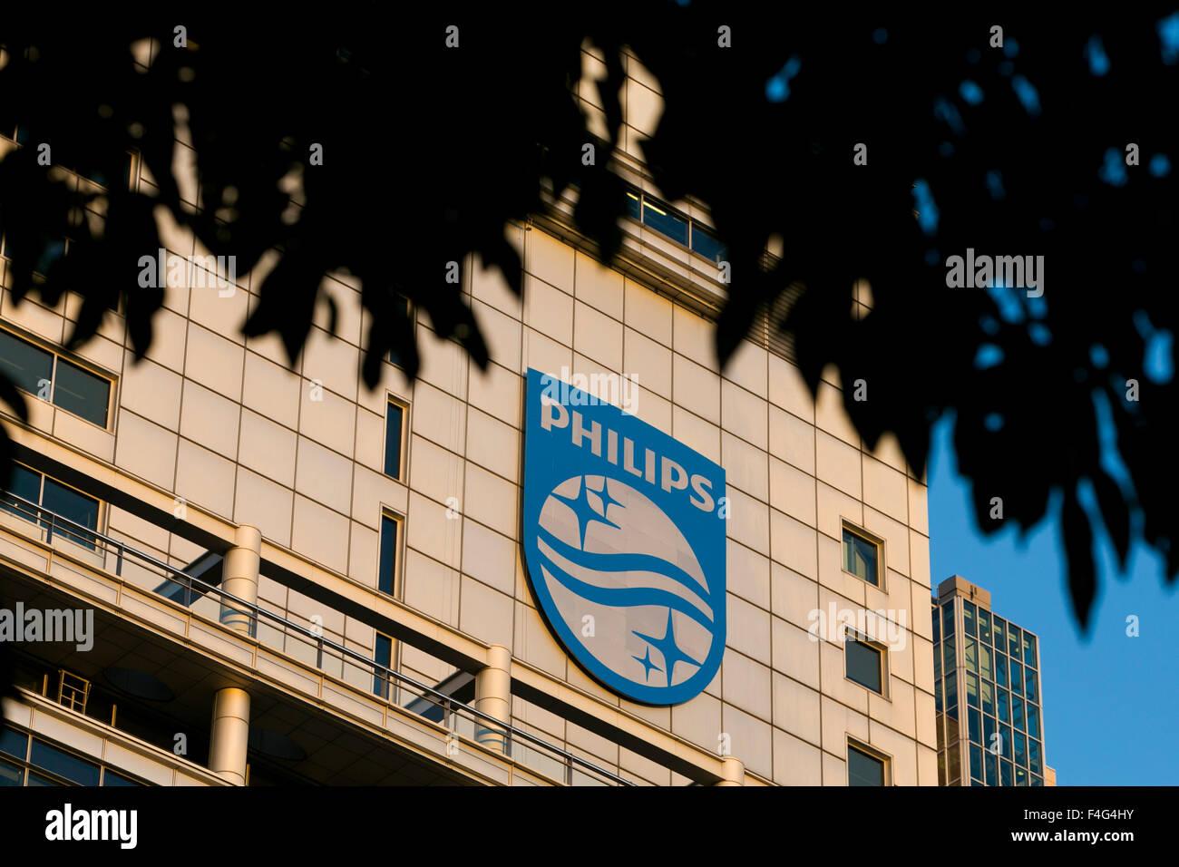 A logo sign outside of the headquarters of Koninklijke Philips N.V. in Amsterdam, Netherlands on October 2, 2015. - Stock Image