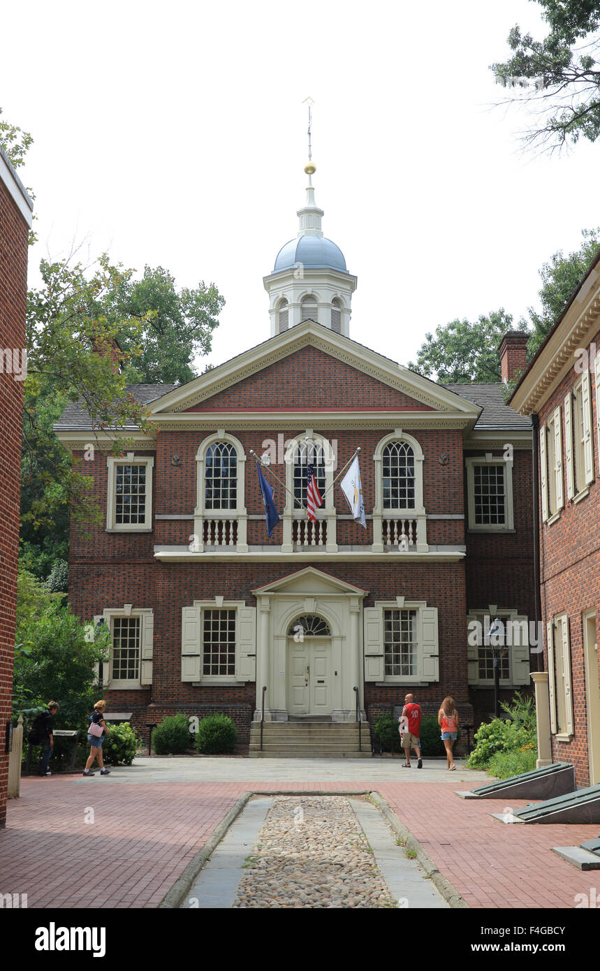 Carpenters' Hall, erected between 1770 and 1774 by the Carpenters' Company of Philadelphia, Pennsylvania, - Stock Image