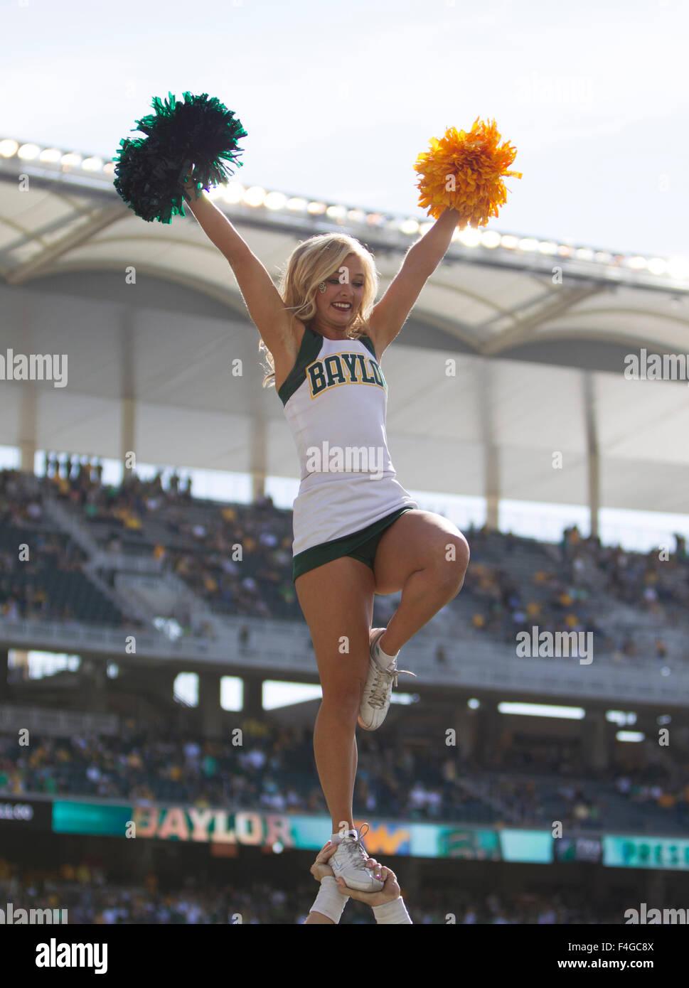 Waco, Texas, USA. 17th Oct, 2015. Baylor Bears cheerleader during the NCAA football game between the West Virginia Mountaineers and Baylor Bears at McLane Stadium in Waco, Texas. JP Waldron/Cal Sport Media/Alamy Live News Stock Photo