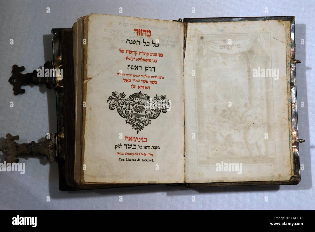 5633-Hebrew book of all year prayers (mahzor), Italy 18th. C. - Stock Image
