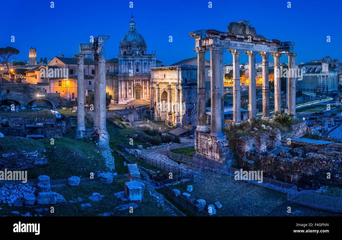 ruins at dusk, Roman Forum, Foro Romano, Rome, Italy - Stock Image