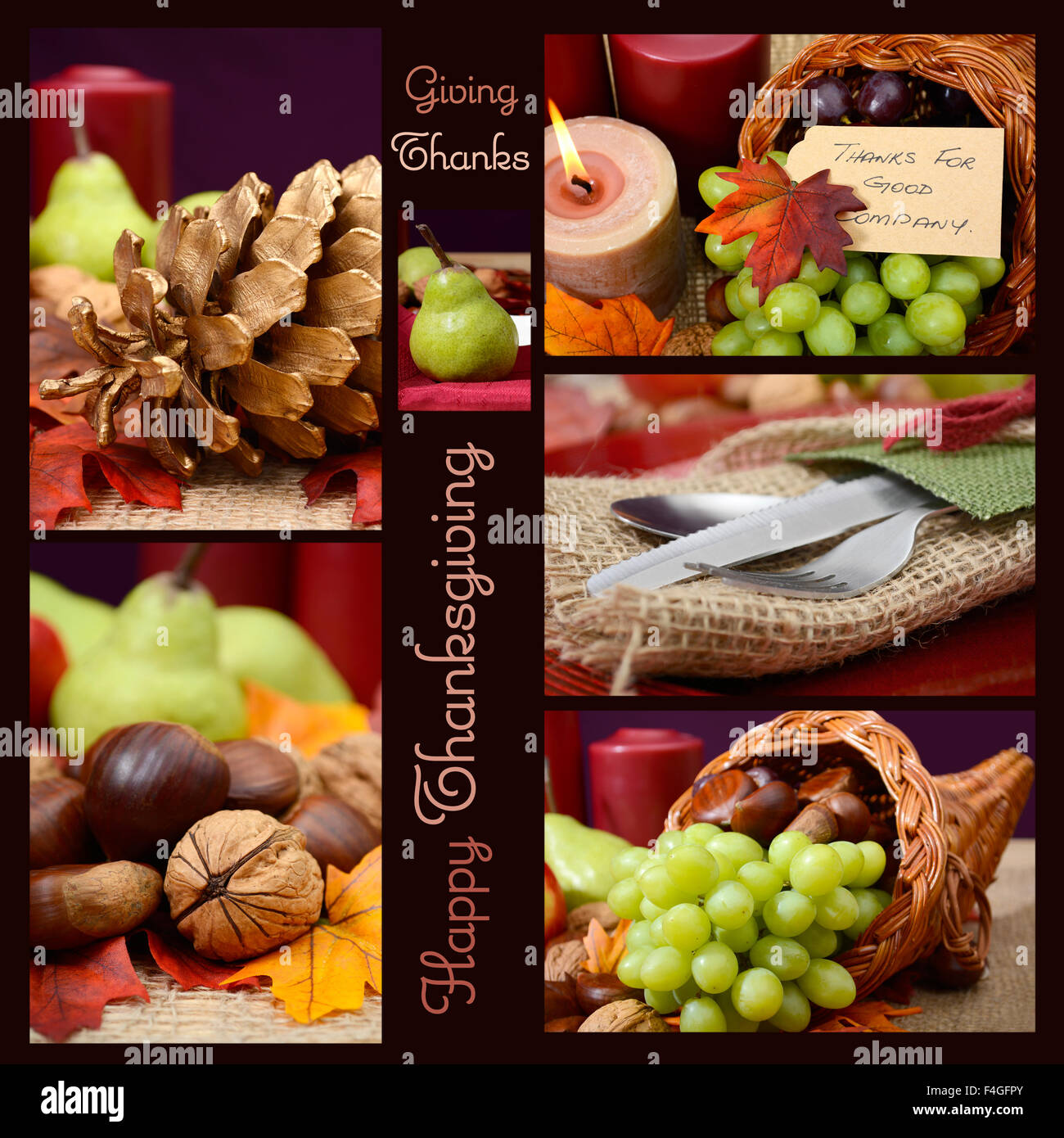 Country style rustic Thanksgiving table setting collage with sample ...