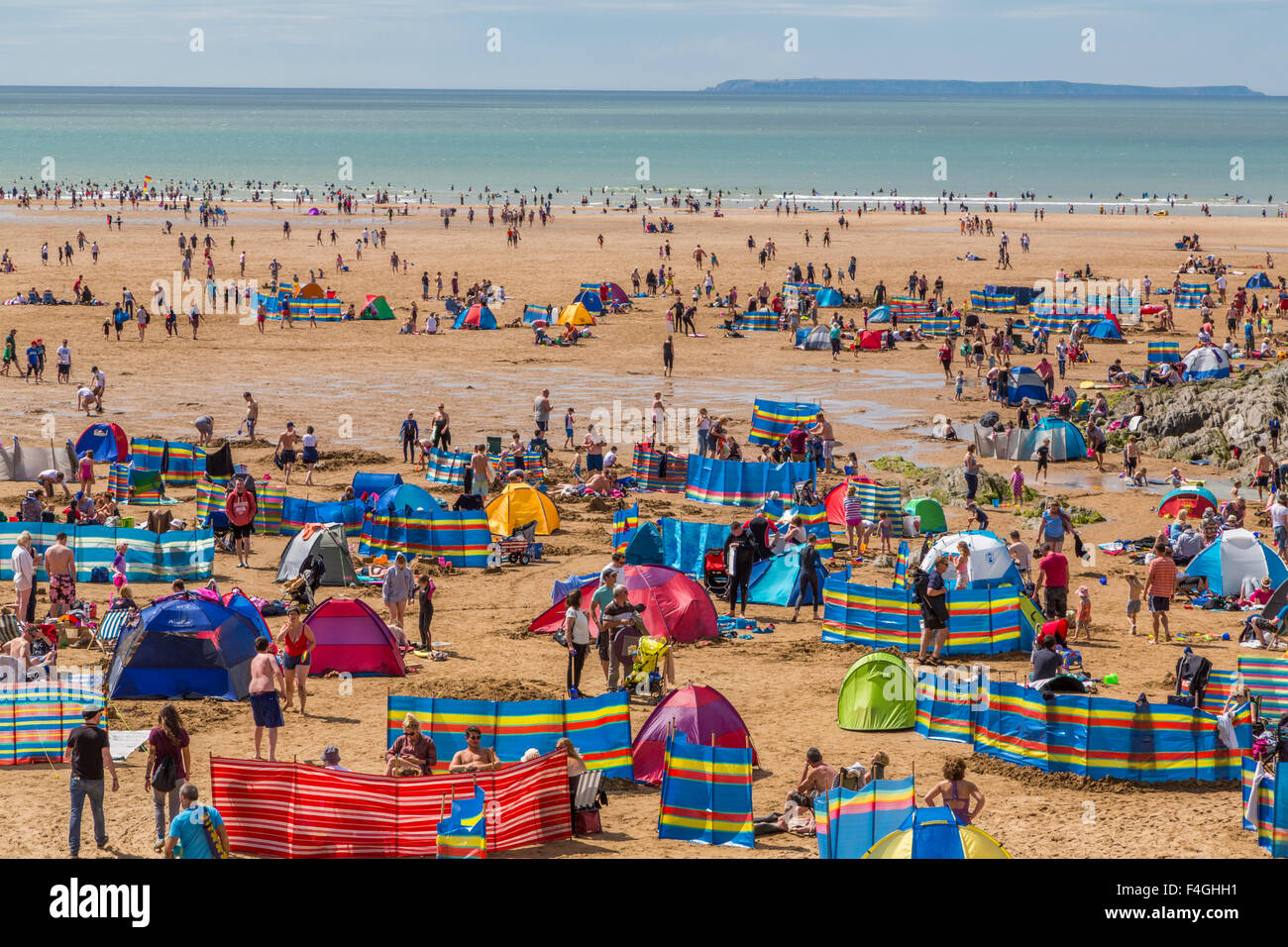 Woolacombe beach seaside resort on a beautiful summer's day North Devon England UK - Stock Image
