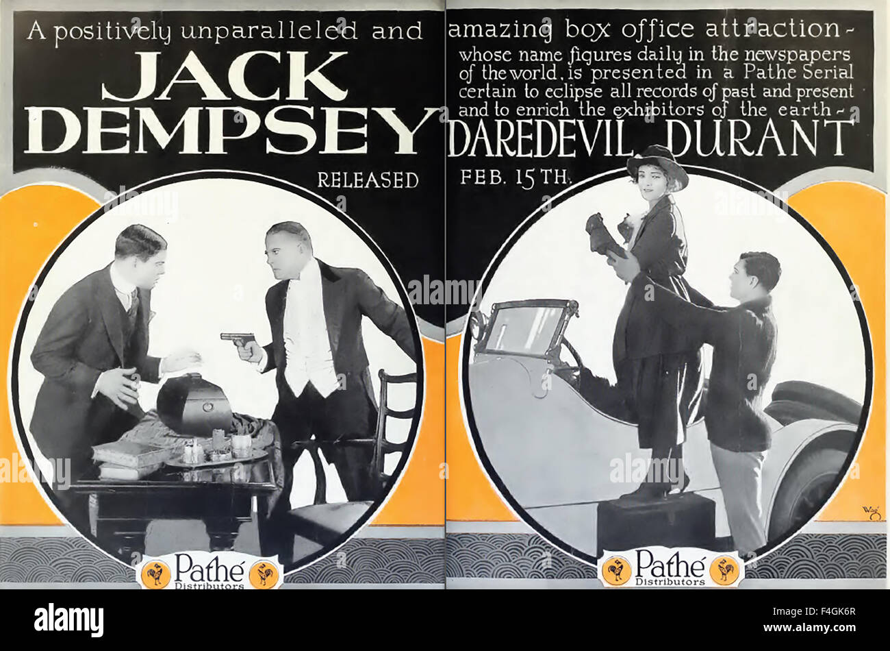 JACK DEMPSEY (1895-1983) American boxer in trade adverts for the 1920 Robert Brunton Productions silent film serial - Stock Image