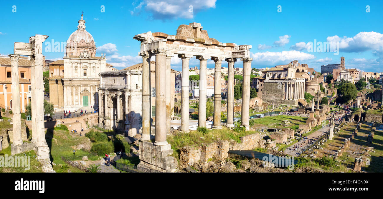 View of the Roman Forum from the Portico Dii Consentes, Rome, Italy - Stock Image