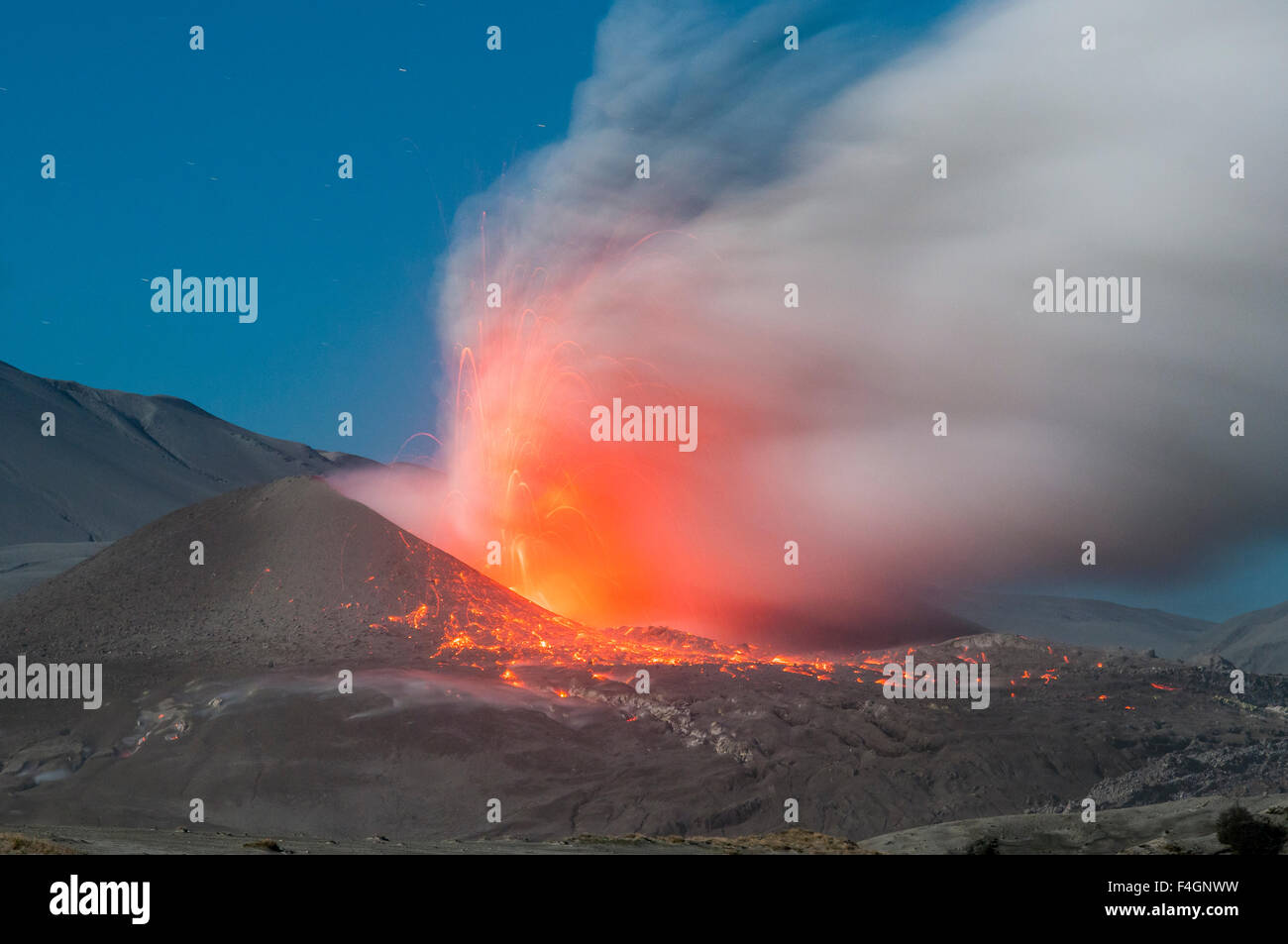 caulle volcano in eruption, the lakes region, chile - Stock Image