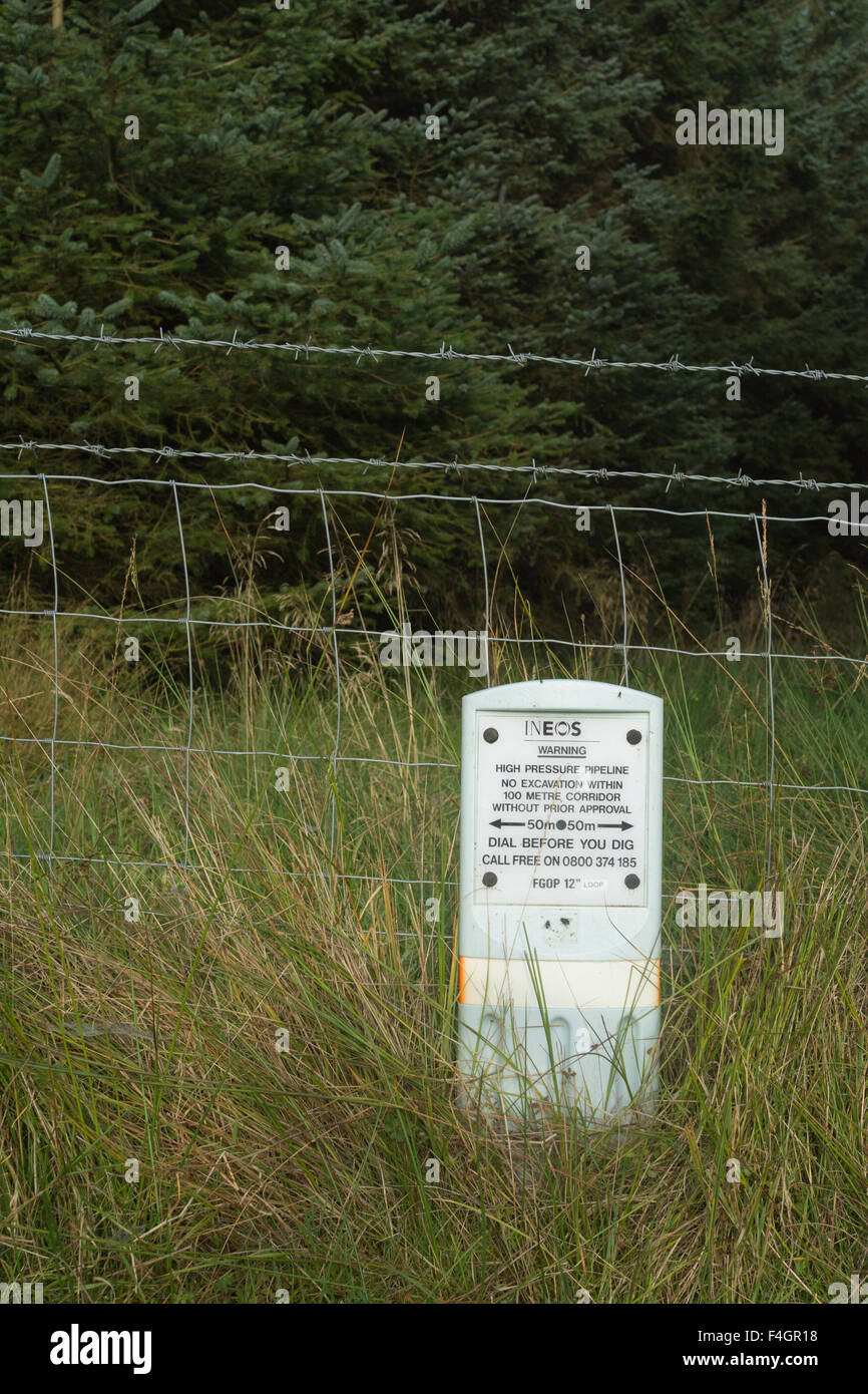 INEOS High Pressure Pipeline warning sign - Scotland, UK - Stock Image