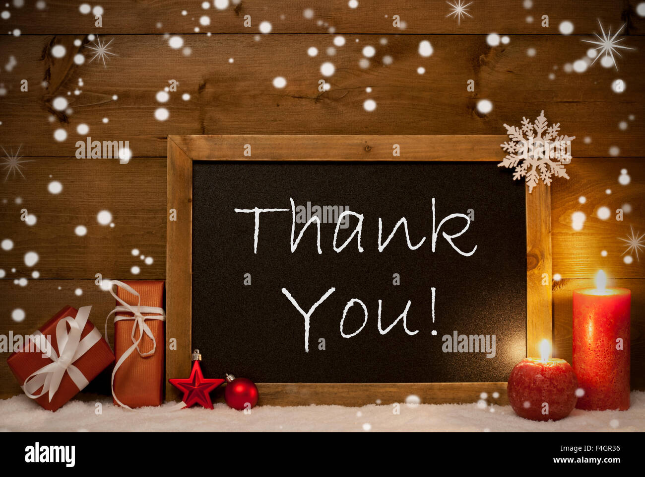 Christmas Card, Blackboard, Snowflakes, Candles, Thank You Stock ...