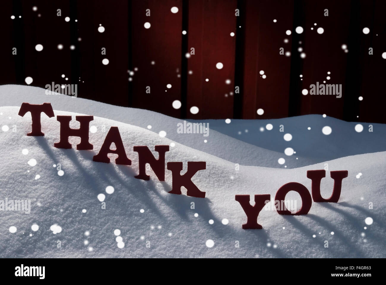 christmas card with snow thank you snowflakes stock photo
