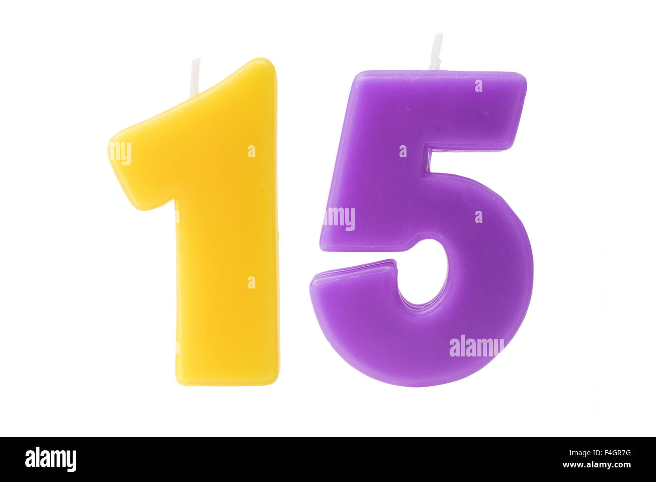 Colorful Birthday Candles In The Form Of Number Fifteen On White Background