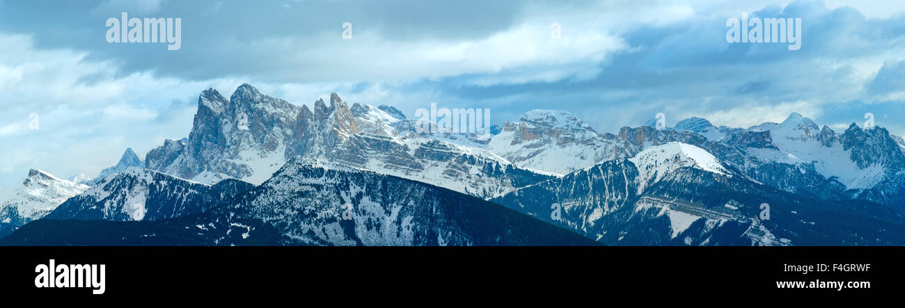 Beautiful winter mountain panorama. View from Rittner Horn (Italy). - Stock Image