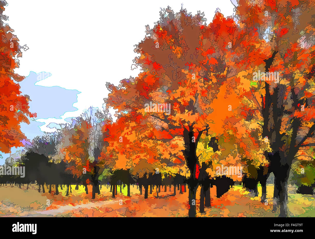 Art autumn landscape as oil painting. Grunge picture showing trees. - Stock Image