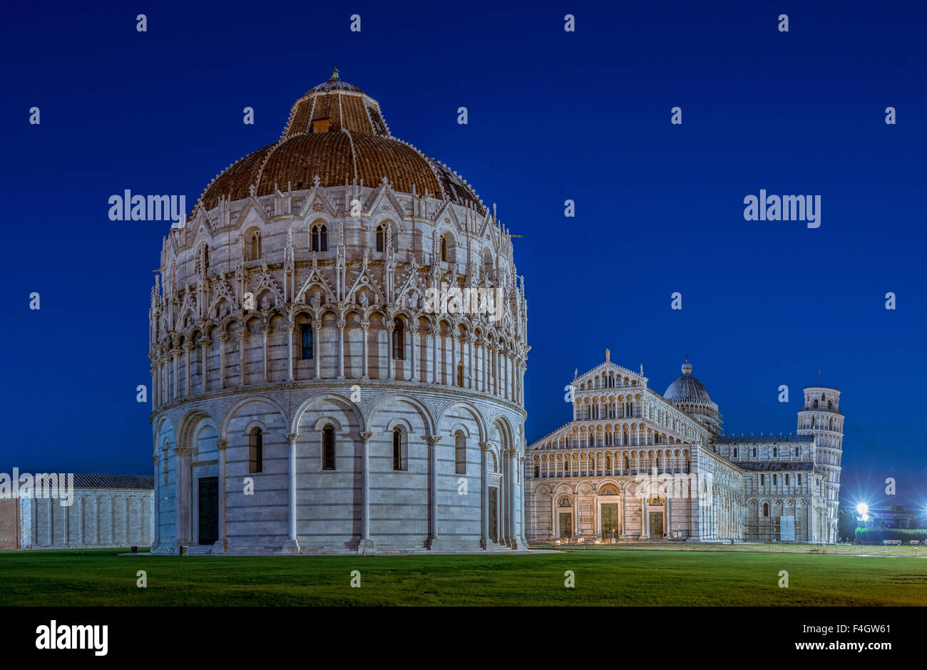 The Baptistery and the Cathedral of Pisa, the Leaning Tower behind, Pisa, Tuscany, Italy, Europe Stock Photo