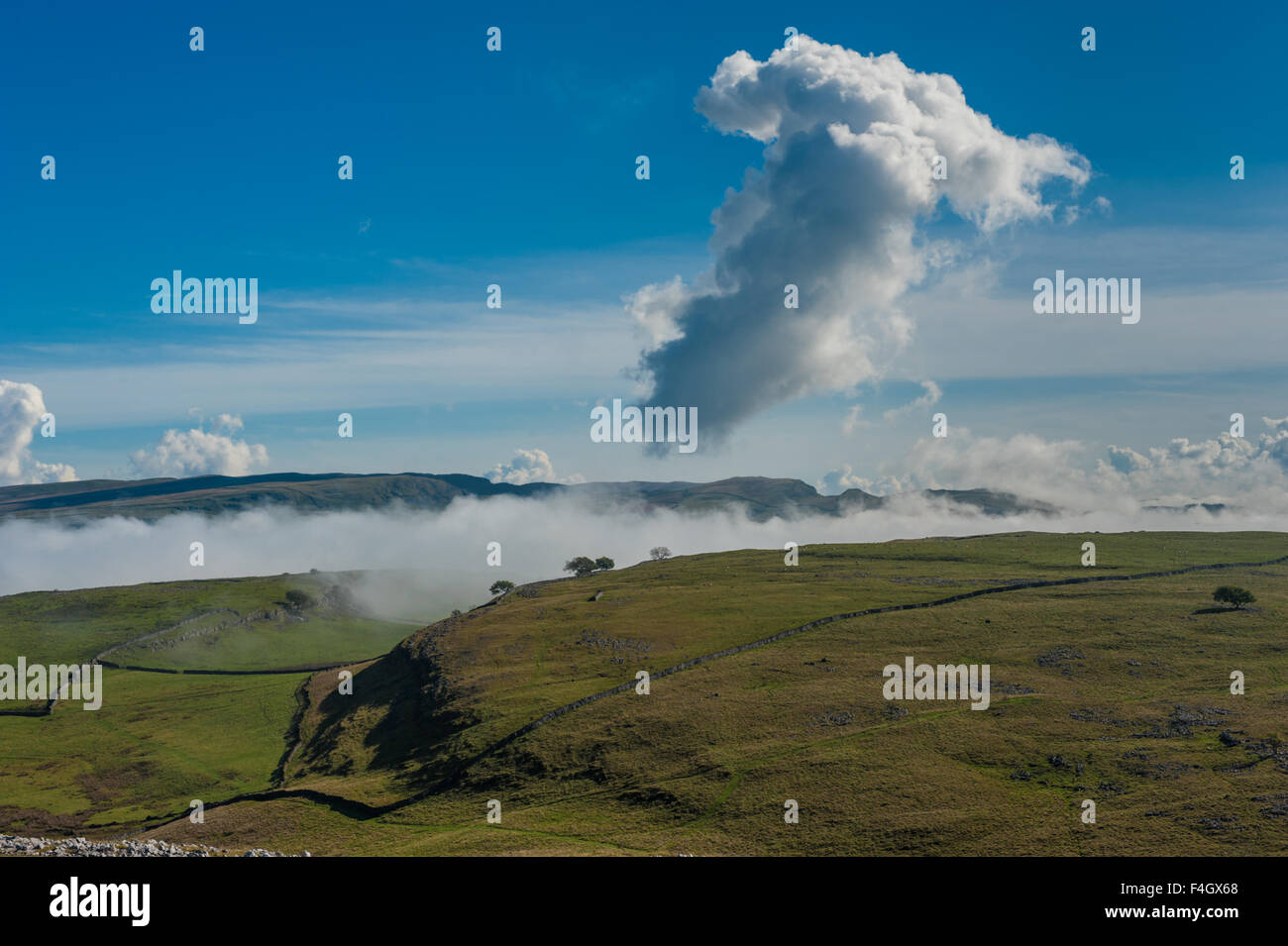 Temperature inversion in the Ribble Valley - Stock Image