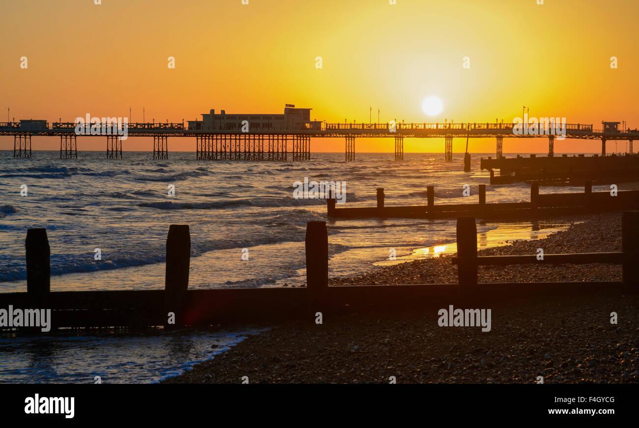 Sunset over Worthing Pier in Worthing, West Sussex, England, UK. Stock Photo