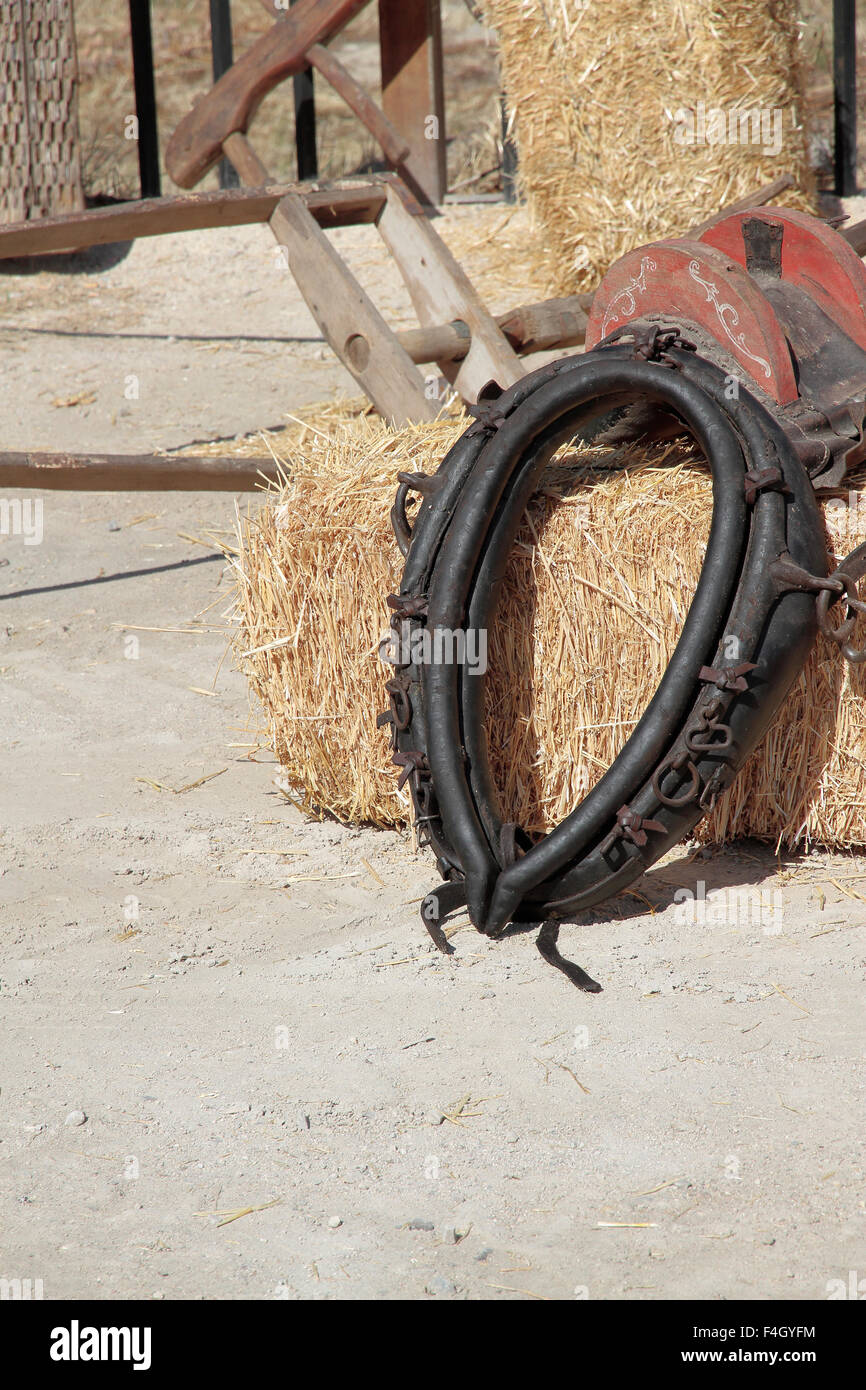 black leather yoke over a hay bale - Stock Image