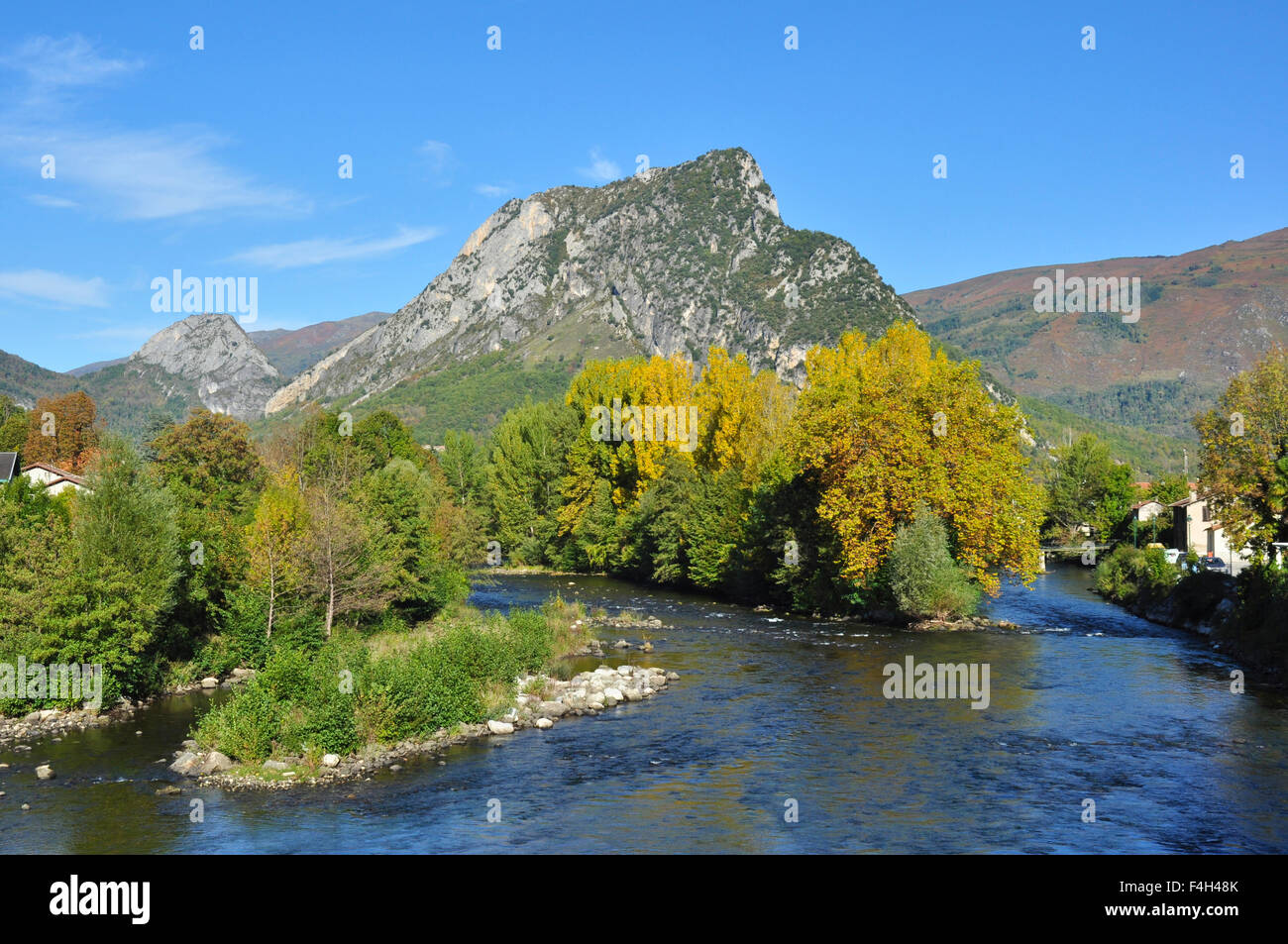 River Ariege and countryside at Tarascon, Ariege, Midi-Pyrenees, France Stock Photo