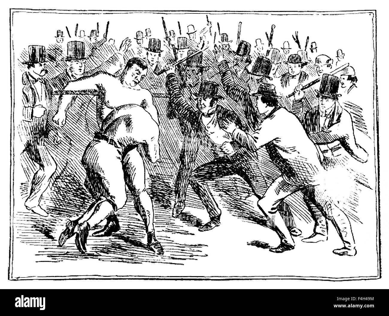 Vintage newspaper illustration depicting the famous 1860 bare-knuckle fight between Tom Sayers (1826 - 1865), Champion - Stock Image
