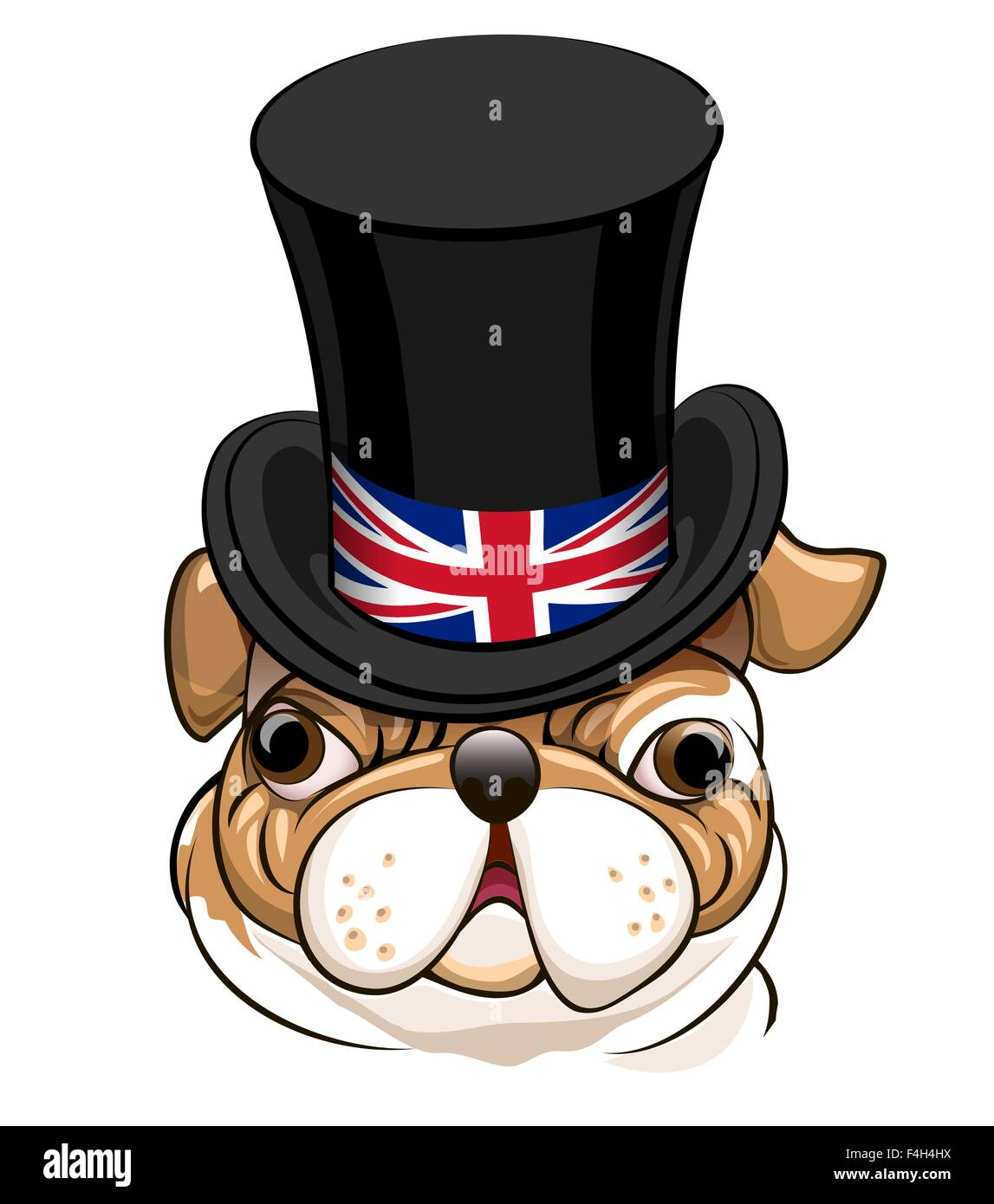 English Bulldog in Black cylinder hat with the symbol of the Great Britain flag. - Stock Image