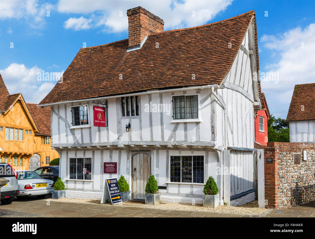 Old timber-famed building on Market Lane in the village centre, Lavenham, Suffolk, England, UK - Stock Image