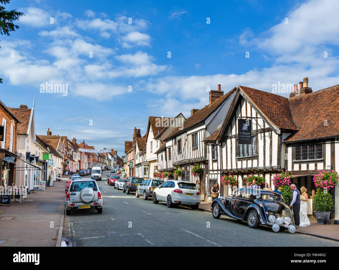 The High Street with the Swan Hotel to the right, Lavenham, Suffolk, England, UK - Stock Image