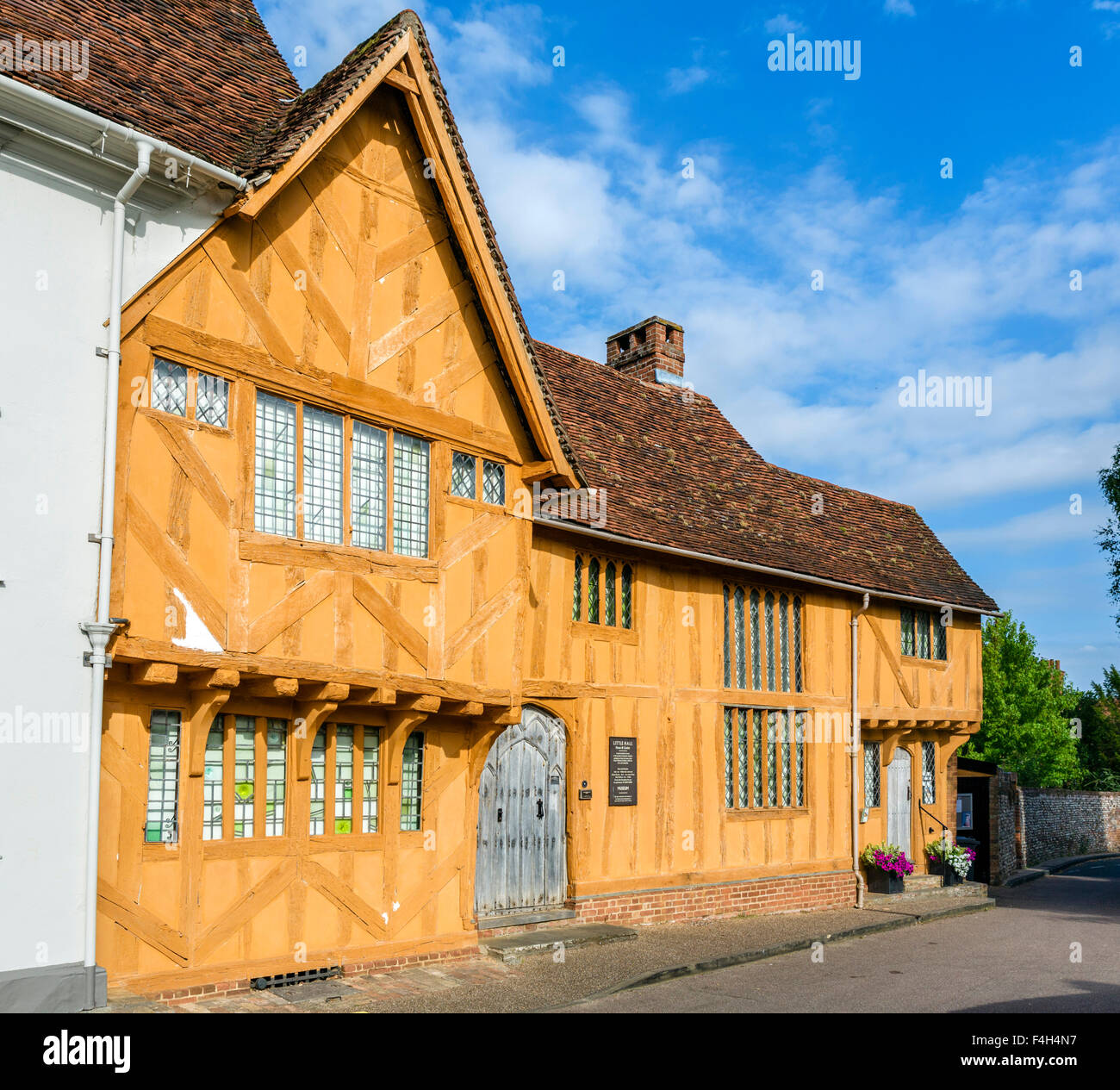 Little Hall, a medieval wool merchant's house in the village centre, Lavenham, Suffolk, England, UK - Stock Image