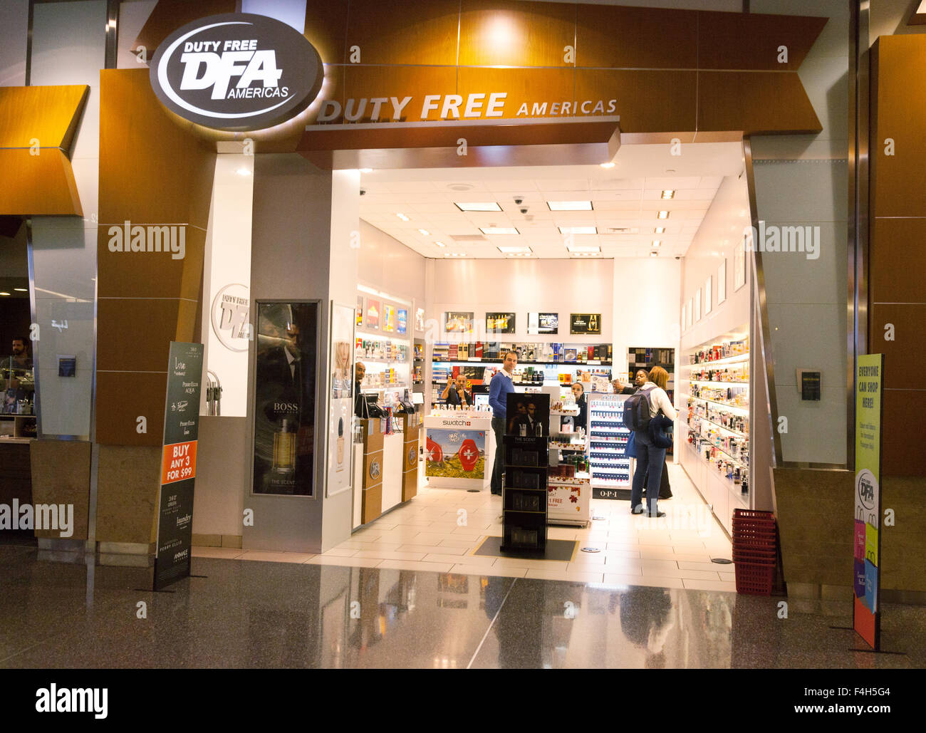 Duty Free Americas Duty Free shop, Departures, Terminal A, Logan international Airport, Boston, Massachusetts USA - Stock Image