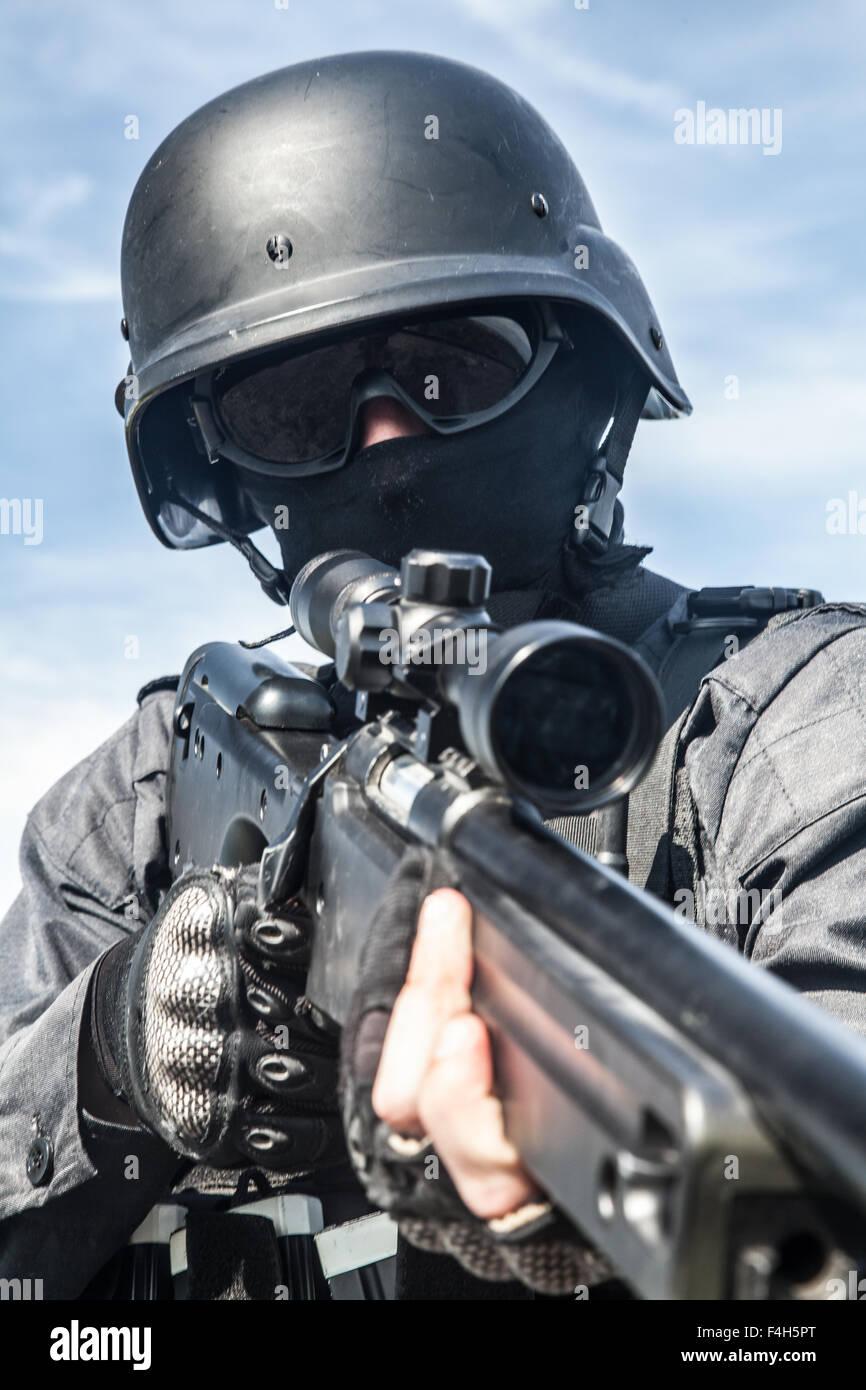 Swat Police Sniper Stock Photo 88888208 Alamy