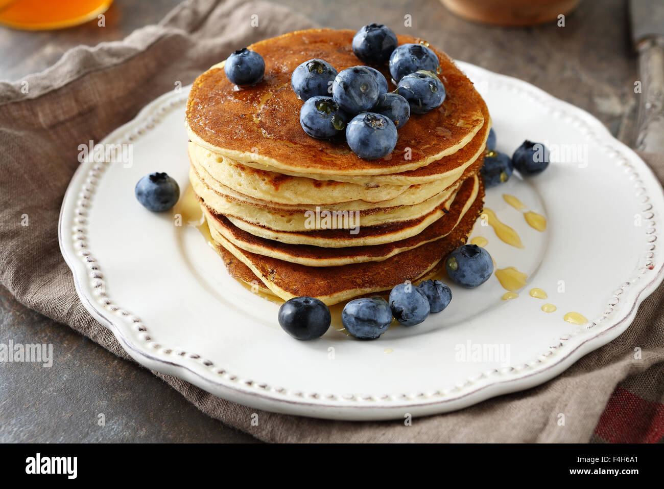 stack pancakes with syrup, food closeup - Stock Image