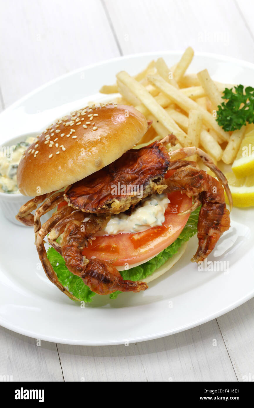 soft shell crab sandwich, spider sandwich - Stock Image