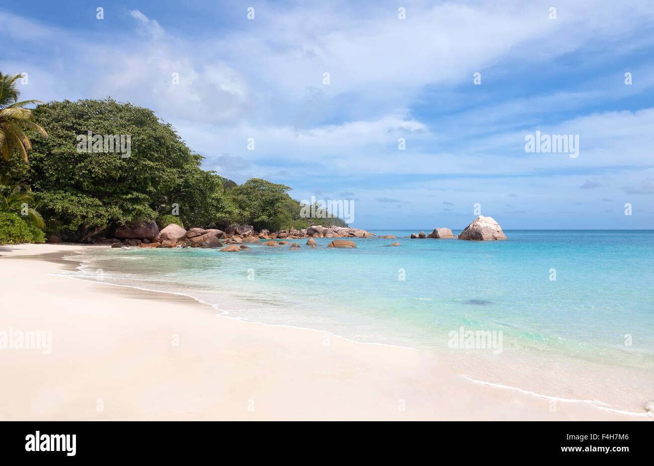 Beach Anse Lazio on the island of Praslin, Seychelles - Stock Image