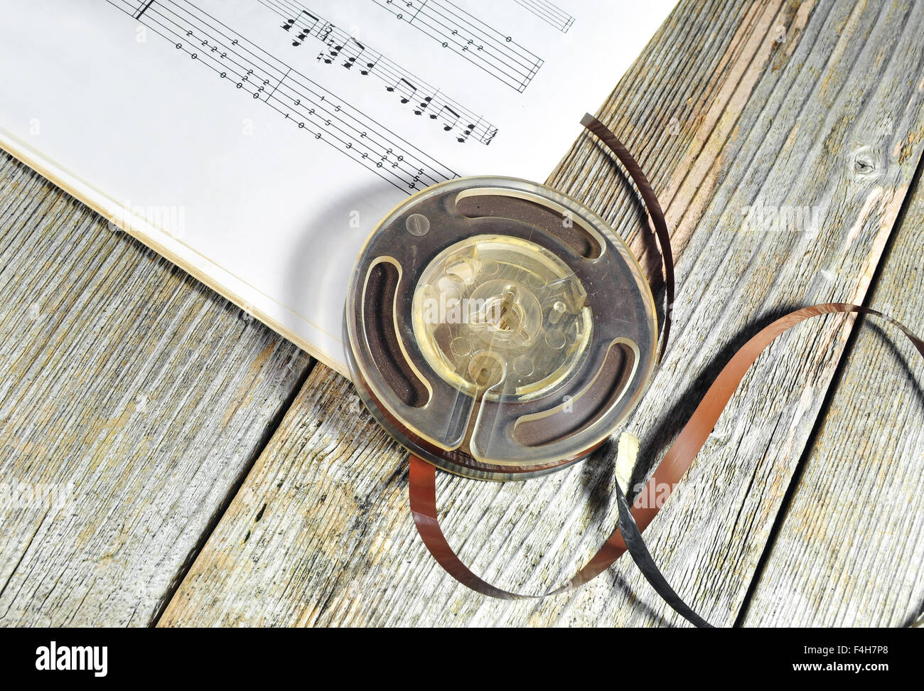 Old music tape with music notes - Stock Image