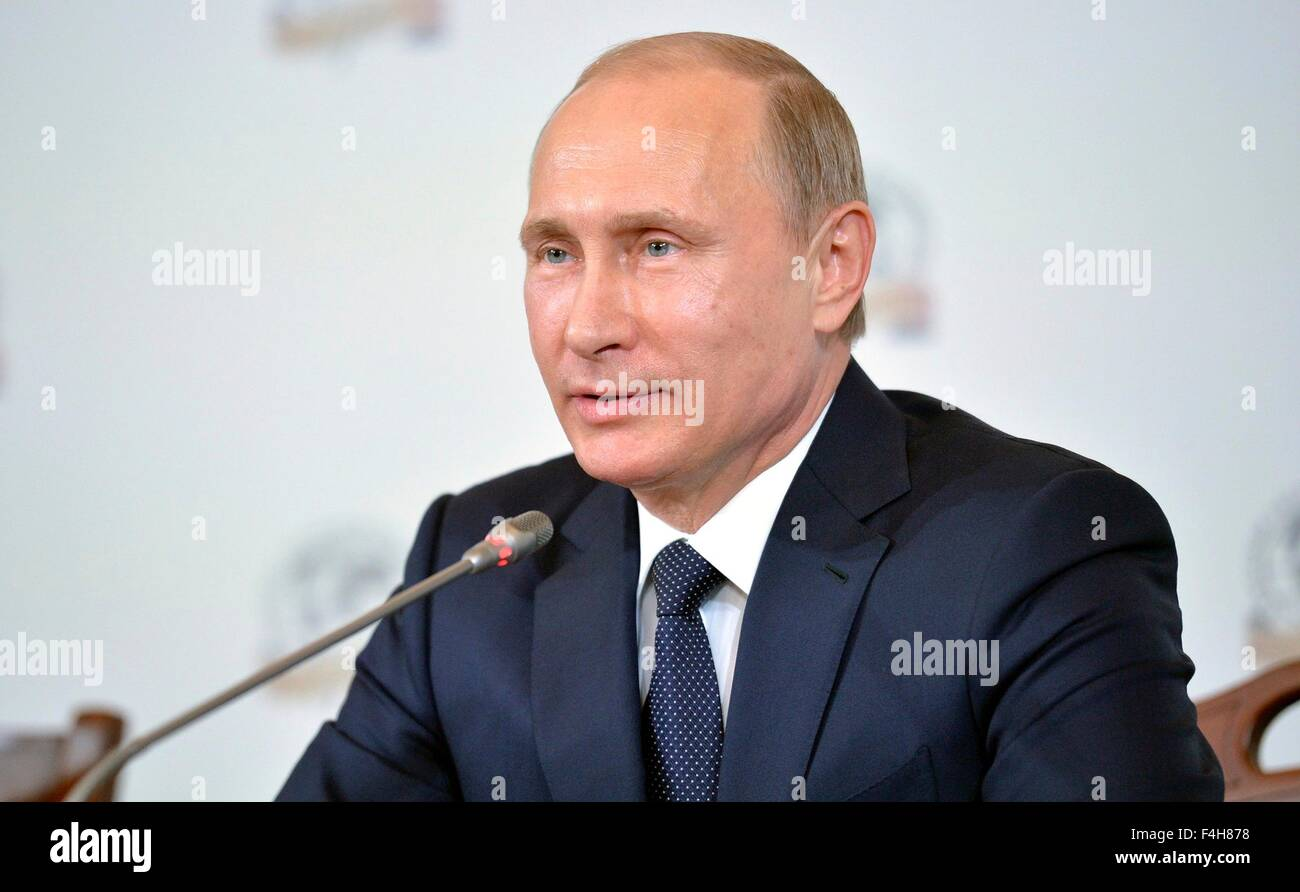 Russian President Vladimir Putin during a meeting of Russian Geographical Society board April 27, 2015 in St Petersburg, - Stock Image