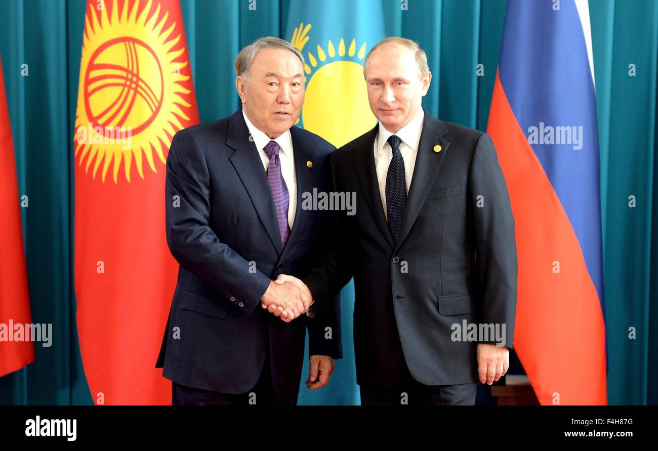 Russian President Vladimir Putin during a bilateral meeting with Kazakh President Nursultan Nazarbayev October 16, - Stock Image