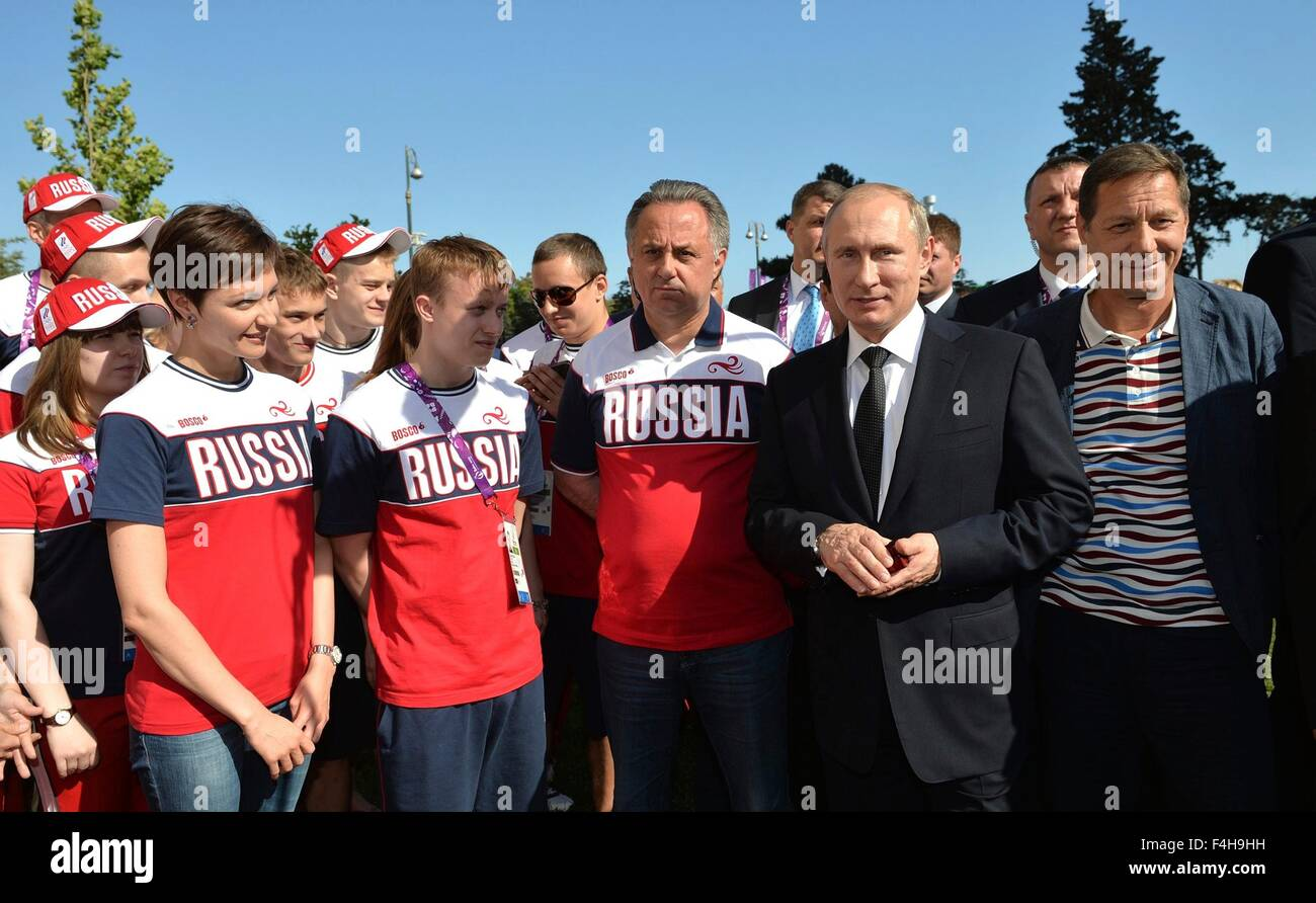 Russian President Vladimir Putin meets with the Russian federation athletes  during the 2015 European Games June - Stock Image