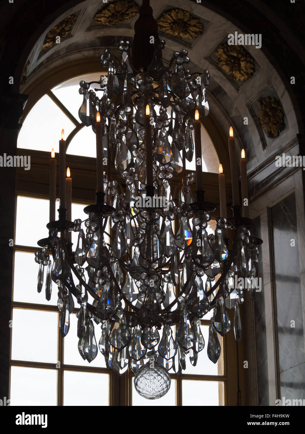 Crystal chandelier of the versailles palace mirror room stock photo crystal chandelier of the versailles palace mirror room aloadofball Images
