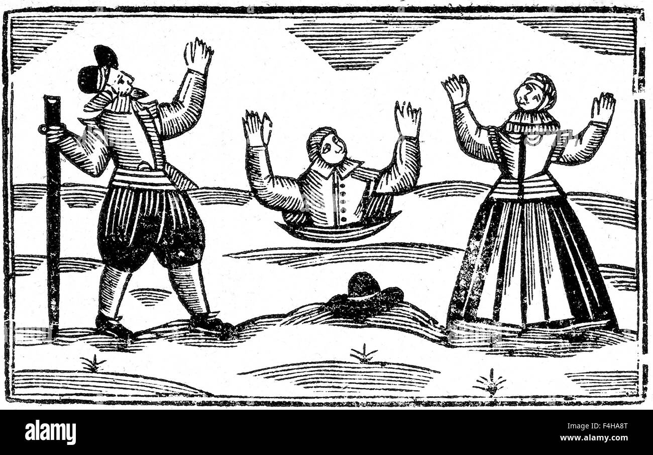 WITCHCRAFT Elizabethan woodcut showing a man suspected of witchcraft being subjected to the 'sink or swim' - Stock Image