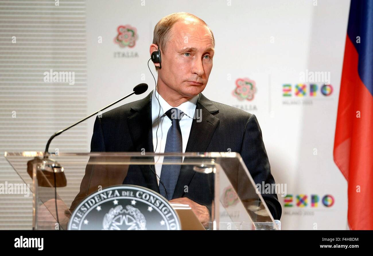 Russian President Vladimir Putin during a joint press conference with Italian Prime Minister Matteo Renzi at the - Stock Image