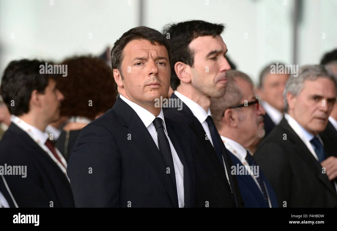 Italian Prime Minister Matteo Renzi at the opening ceremony of 2015 Expo in Rho June 10, 2015 outside Milan, Italy. - Stock Image