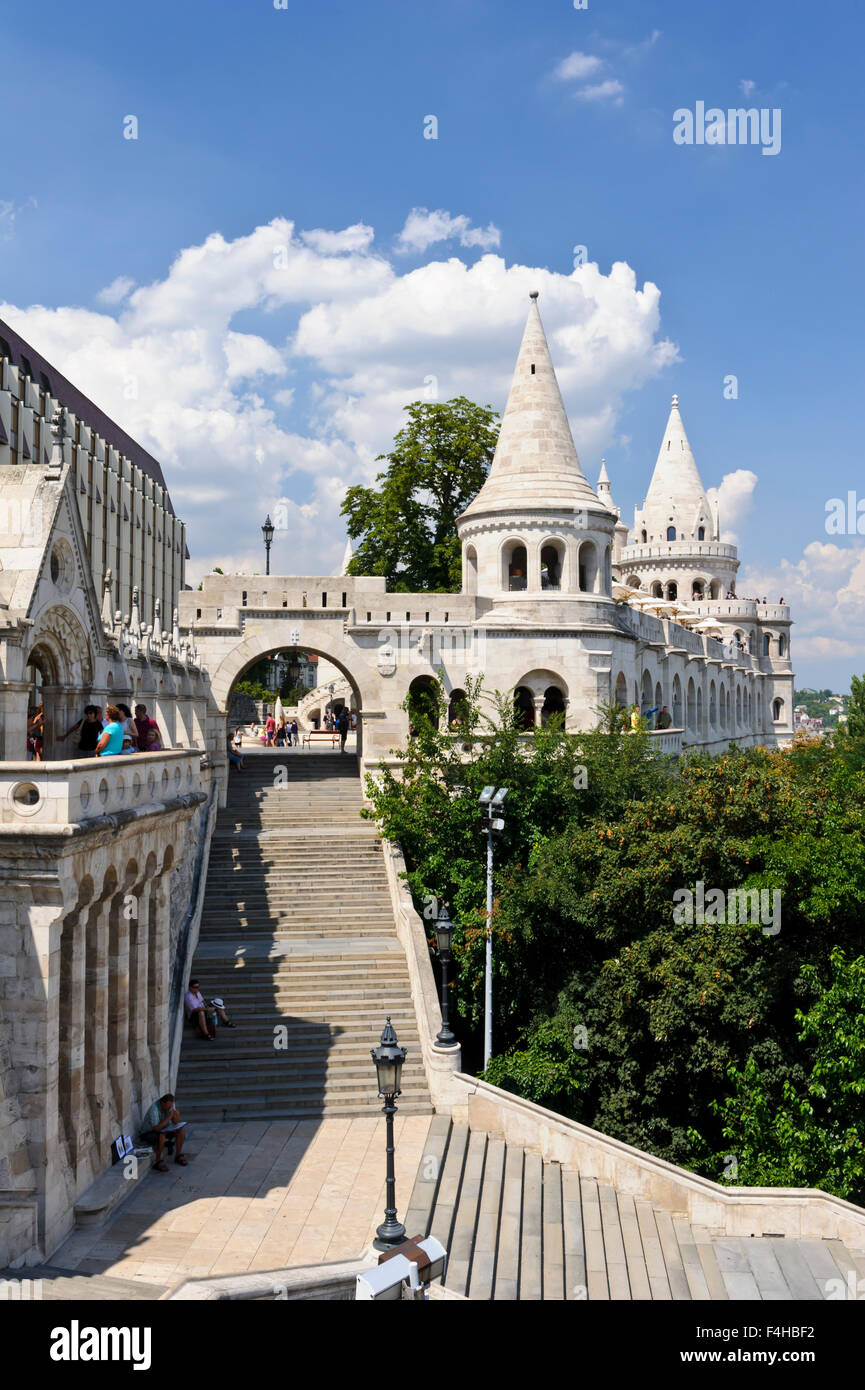 The Fisherman's bastion on Castle Hill in Budapest, Hungary. - Stock Image
