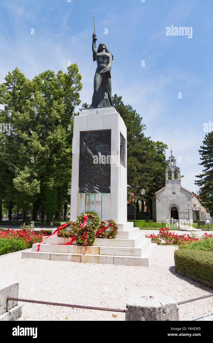 Cetinje, Montenegro.  The angel figure of Lovćenska Vila which commemorates the death of Montenegrin emigrant patriots - Stock Image