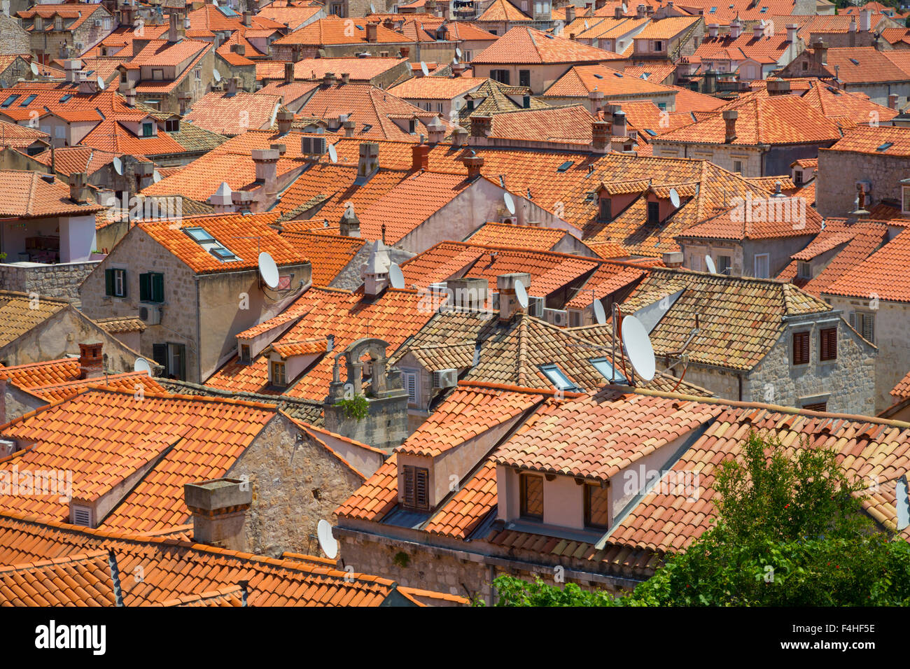 Dubrovnik, Dubrovnik-Neretva County, Croatia.  Rooftops in the old town. - Stock Image