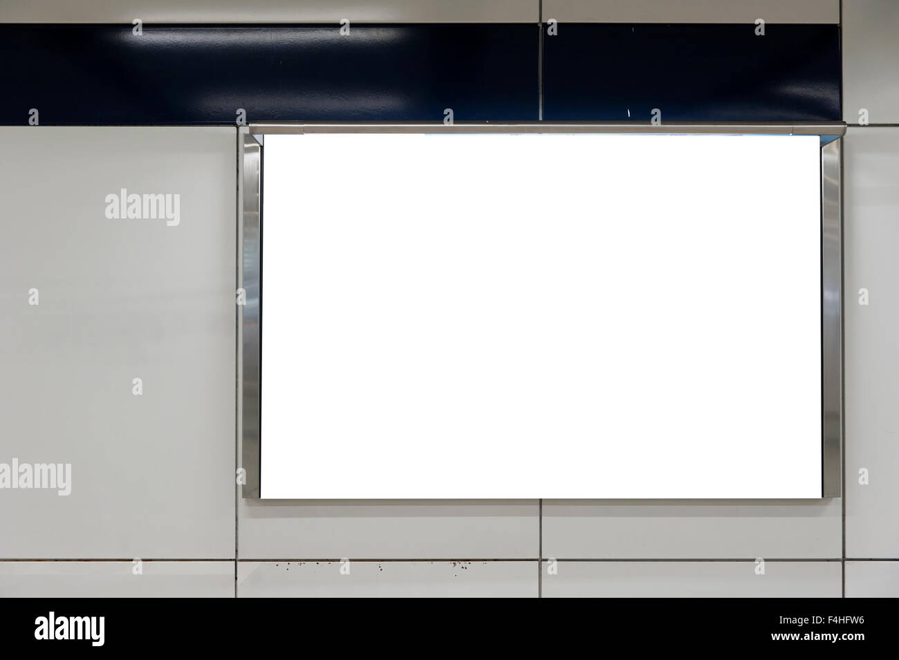 Empty White Billboard inside building Stock Photo